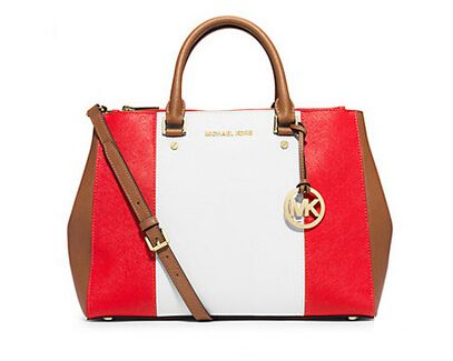 Michael Kors Large Color Block Leather Satchel White And Red Bags Pinterest Blocking