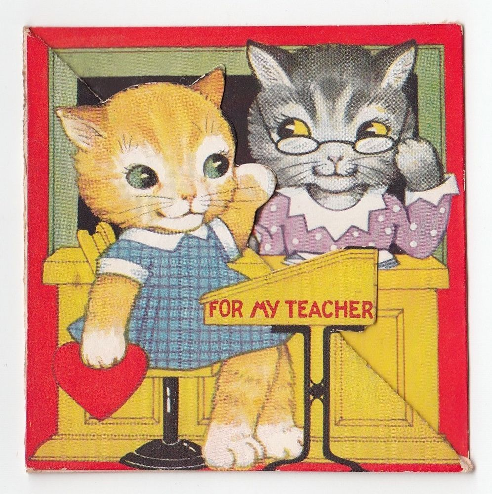 Vintage greeting card valentines day cat kitten school for my vintage greeting card valentines day cat kitten school for my teacher 1930s kristyandbryce Gallery