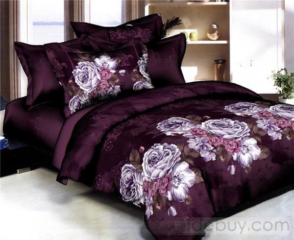 Luxurious Purple Peony Satin Cotton 4 Piece Bedding Sets