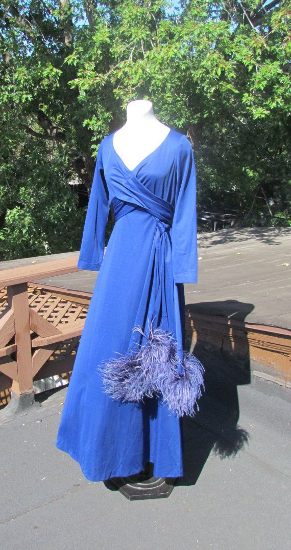 FABULOUS Royal Blue Cress with OSTRICH FEATHER by BeauMondeVintage, $68.00