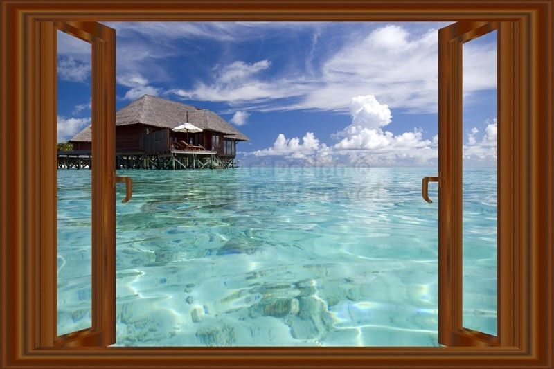 D Window Decal WALL STICKER Home Decor Beach Ocean View Art - 3d window wall decals