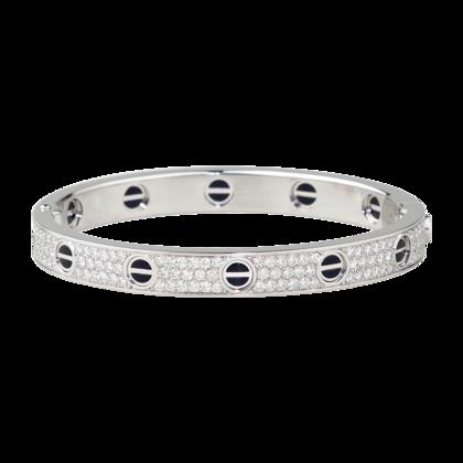 Cartier Love Bracelet 18kt white gold with pavé diamonds and black