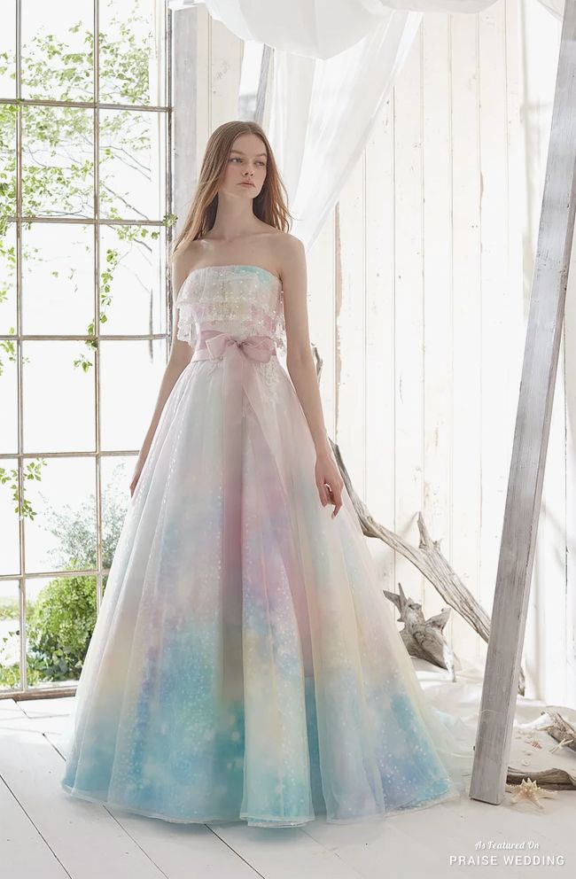 This glittering pastel rainbow gown from Pla Cole Wedding is making ...