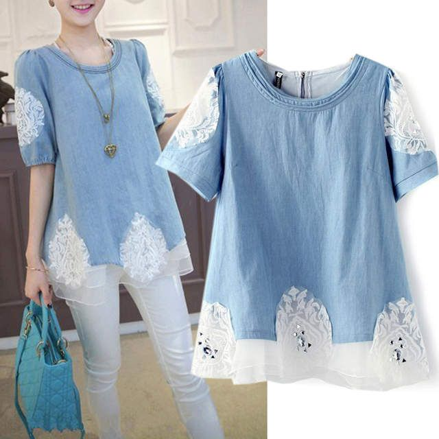 New summer 2014 L-4XL PLUS SIZE women denim shirt European elegant jeans stitching lace hand- beaded puff sleeve blouses