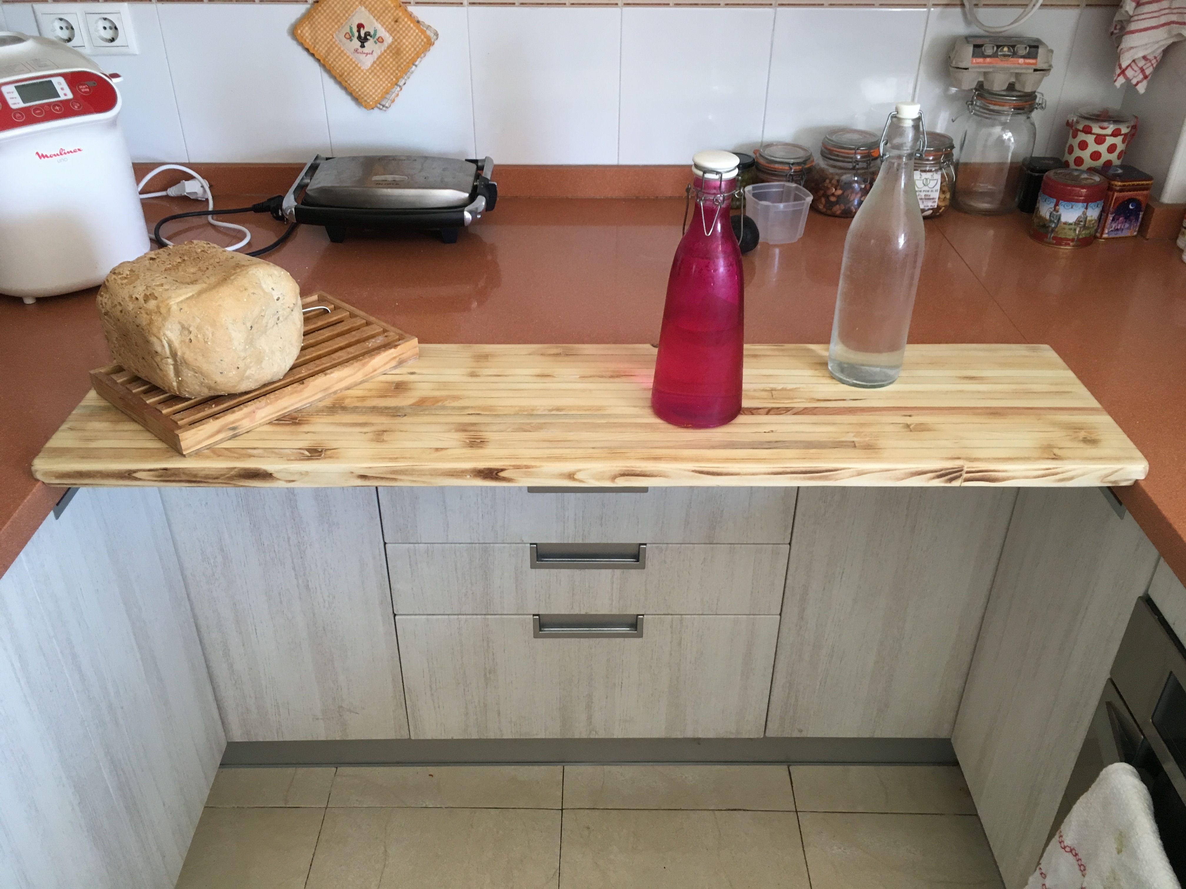 Barra auxiliar de cocina desayunador suspendido barra for Como hacer una barra de cocina