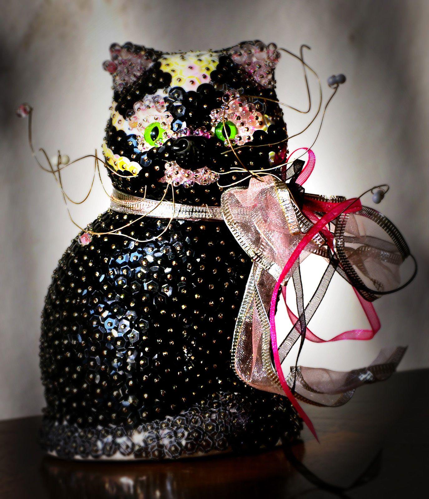 DEko Katze Pailletten Dekoration Dekorkatze   eBay