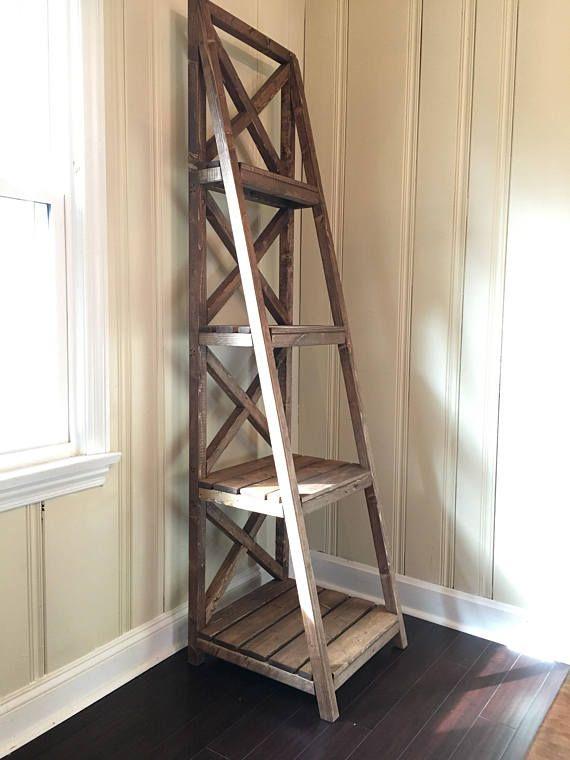 Farmhouse Style Ladder Bookshelf Bookshelves Diy Rustic Furniture Shelves