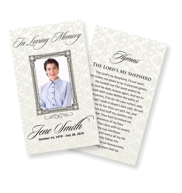 Funeral Prayer Cards Examples  Temporarily Urgent
