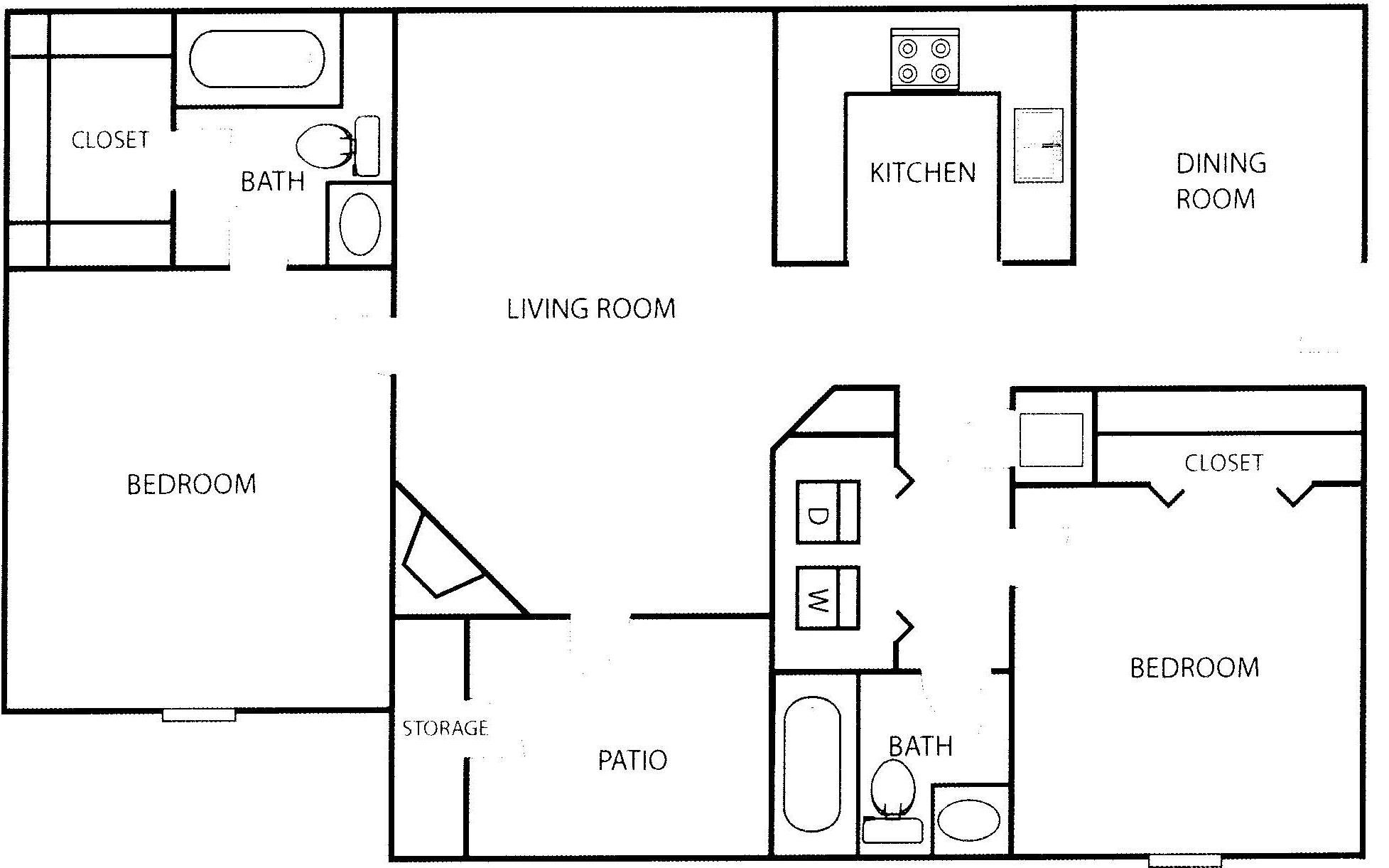 2 Bedroom Luxury Apartment Floor Plans (With images