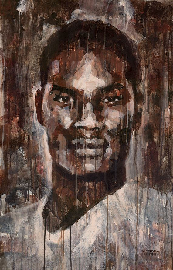 Face to Face 21x34 Black Man Portrait Original by
