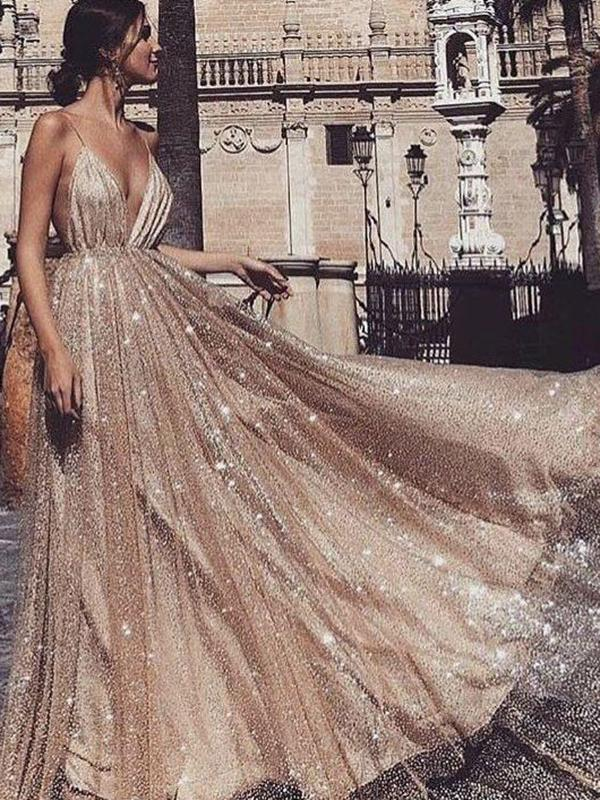 5a9447929337 Chic Gold Prom Dress Vintage Unique Cheap Long Prom Dress #VB2416 ...