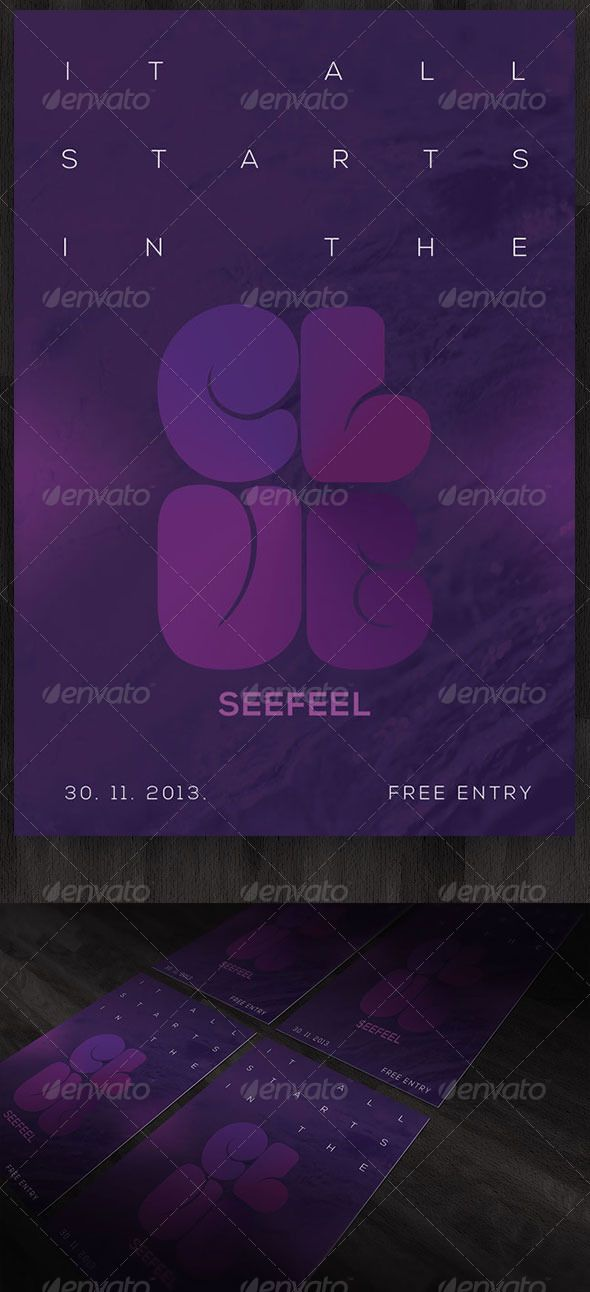 purple minimalist flyer