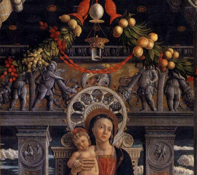 Andrea Mantegna-Pala di San Zeno(dettaglio), 1457-1459, tempera su tavola, 480x450 cm, Verona, basilica di San Zeno
