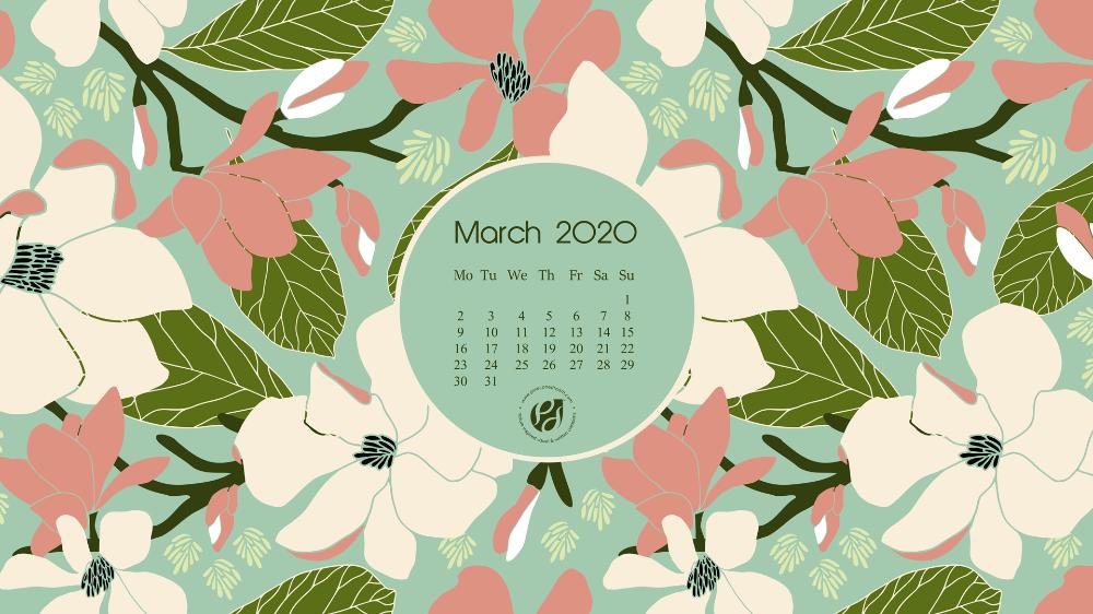 March 2020 desktop calendar wallpaper march 2020 summer