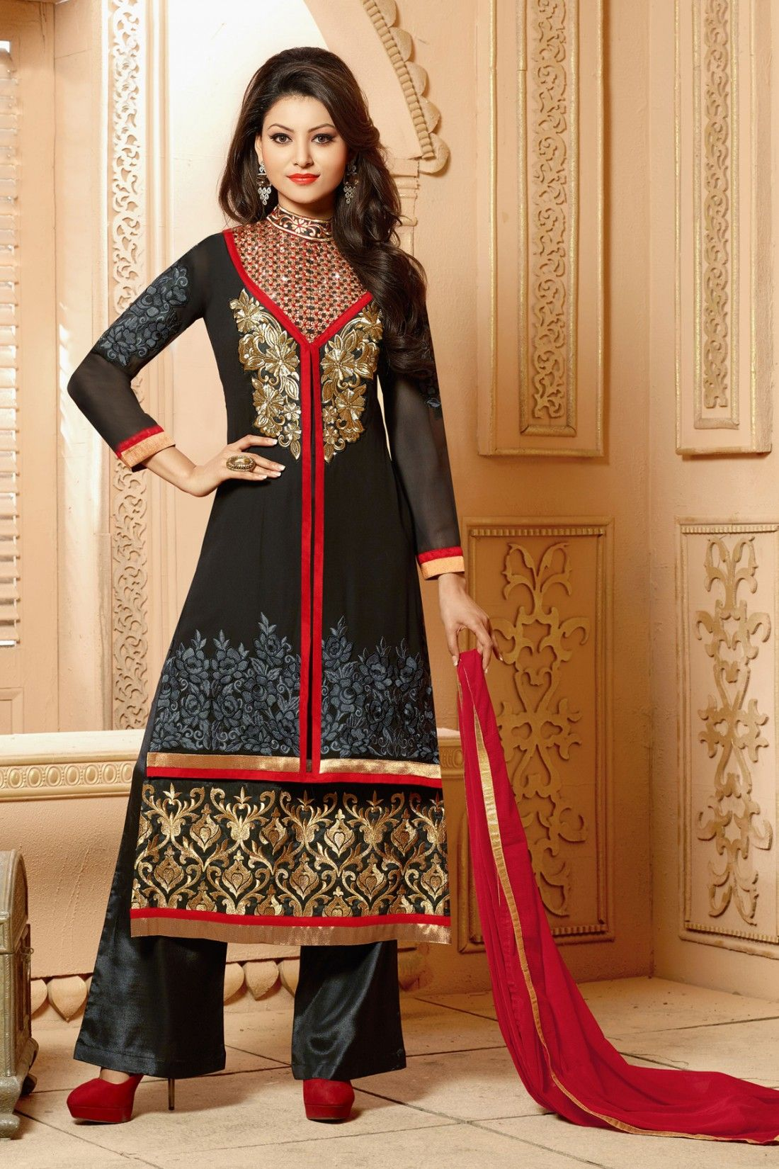 42bb5eb719 Look Graceful with New Urvashi Rautela Black Faux Georgette Salwar Kameez  Shop now @ http: