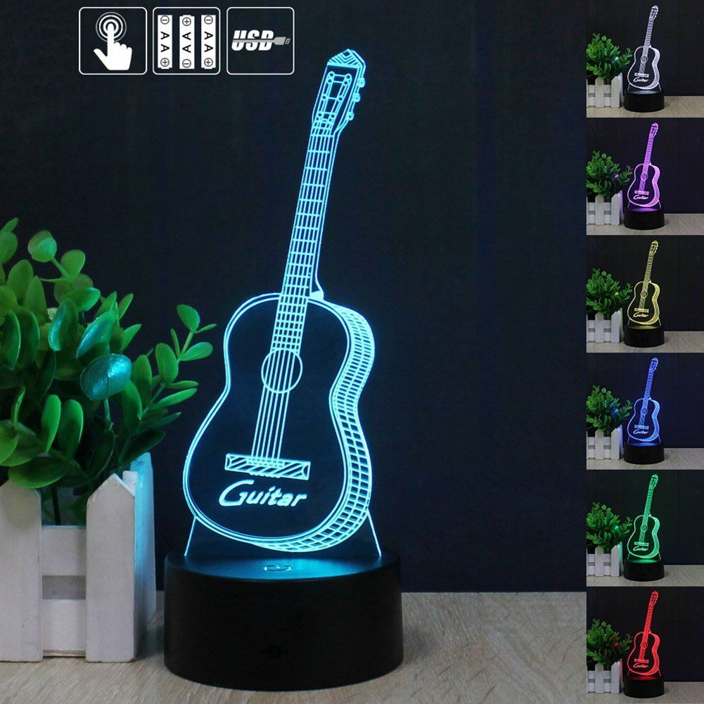 3d Guitar Led Night Light Multi 7 Color Changing Touch Switch Optical Table Lamp Usb Powered Home Room B Led Night Light Creative Lamps Creative Birthday Gifts