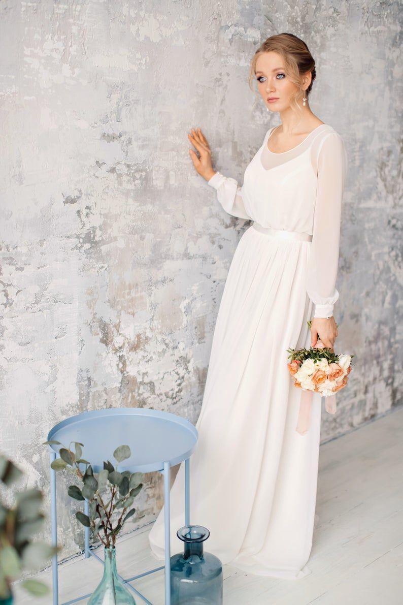 Long Sleeve Rustic Wedding Dress Simple Wedding Dress Chiffon Wedding Dress Romantic Bridal Gown Katarina Etsy Wedding Dress Wedding Dress Organza Wedding Dresses Simple [ 1191 x 794 Pixel ]