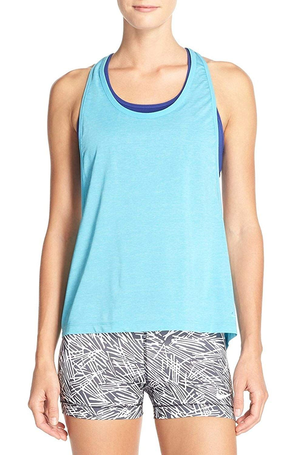 d0dce665af9 NIKE 2-In-1 Pro Loose Tank Top With Built In Bra. Breathable fabric, Built-in  sports bra, Omega blue with ocean-colored attached bra, Good for medium  impact ...
