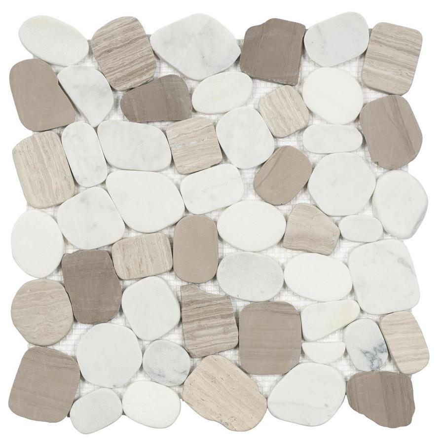 Satori 10 Pack Mixed Warm Blend 12 In X 12 In Honed Pebble Floor And Wall Tile In 2020 Pebble Floor Pebble Mosaic Tile Mosaic Flooring