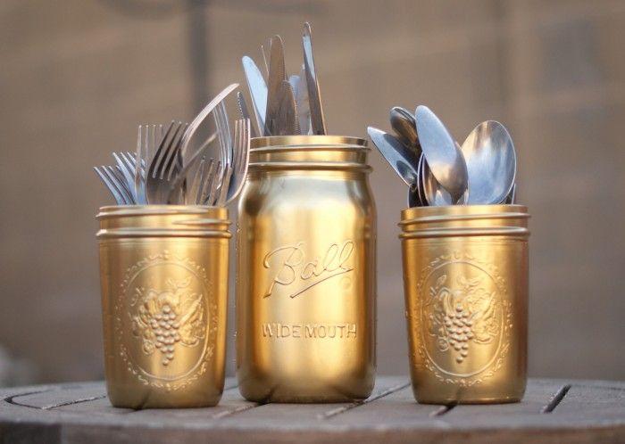 Kitchen Jar Decoration Diy Gold Painted Silverware Mason Jars  Jar Gold And Mason Jar
