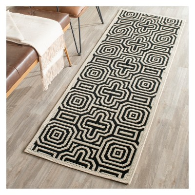 Linz 2 3 X 12 Outdoor Runner Sand Black Brown Black Safavieh Outdoor Runner Rug Indoor Outdoor Area Rugs Patio Rugs
