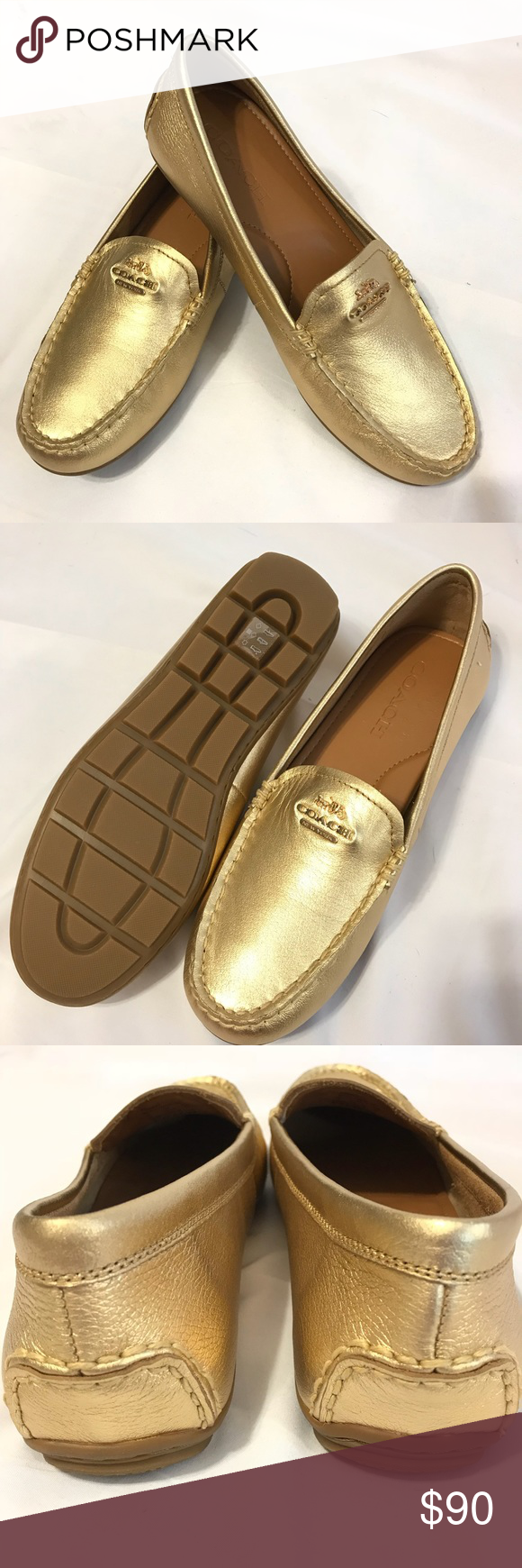 b37c8b9696d Coach Mary Lock Up Gold Driving Shoes Coach  Mary Lock Up