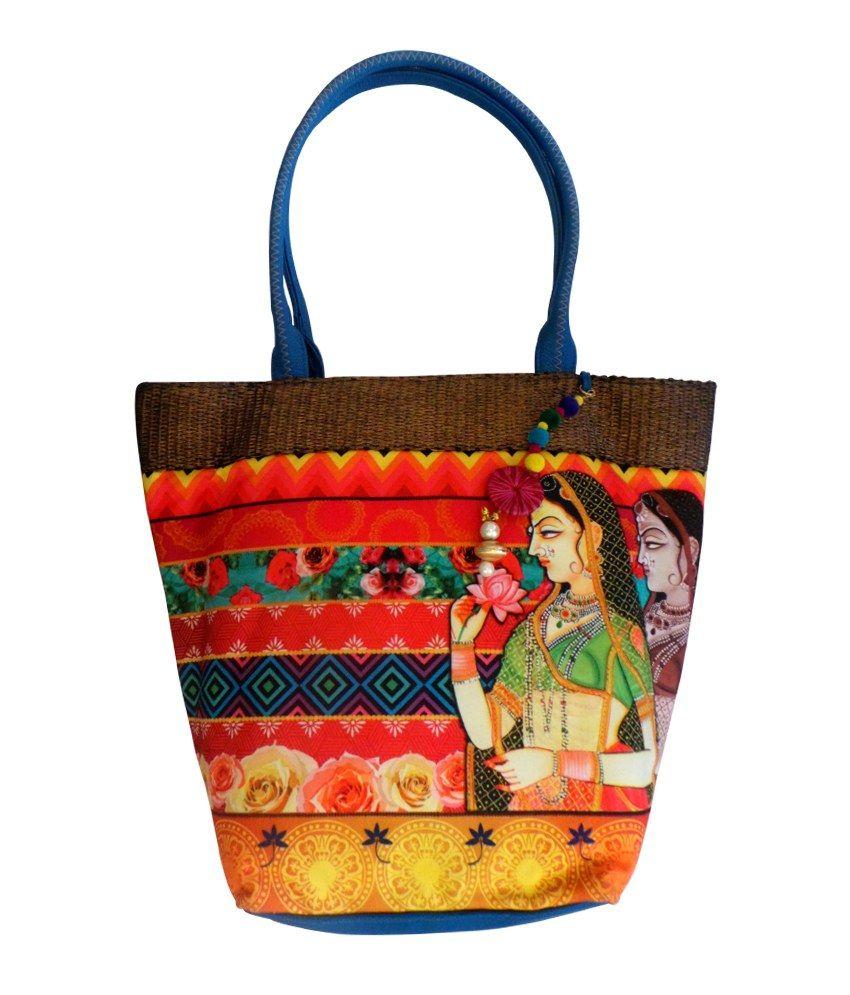 e047262c0974 Bhamini digital print basket handbag (Blue)-Bags-Bhamini Fashion ...