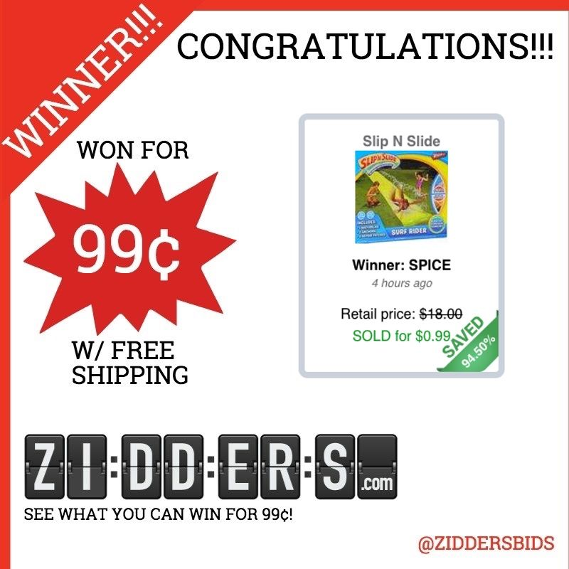 #Congratulations SPICE for winning this Slip N Slide for only 99¢! Want to #win your own? Check out www.zidders.com #zidderswinners  See all of our items for 99¢ w/ #FREE shipping!