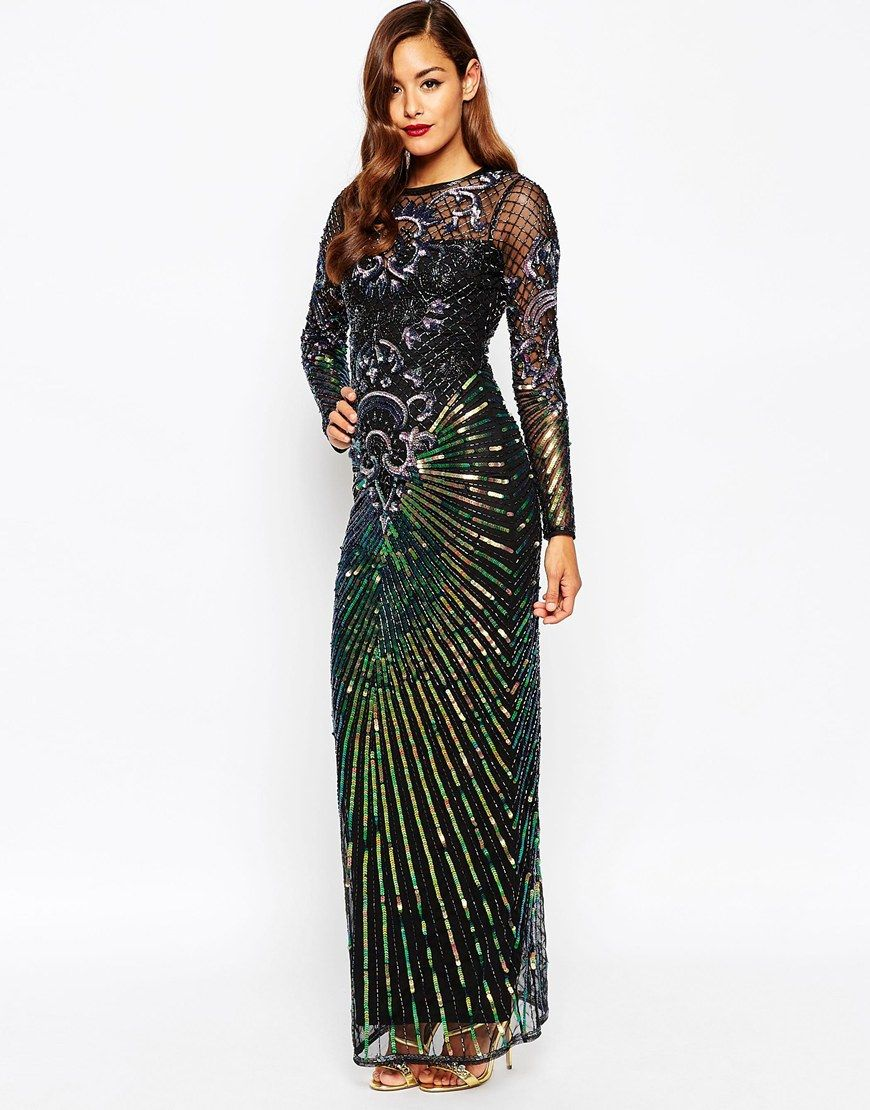 Asos red carpet dream catcher maxi dress holiday party attire