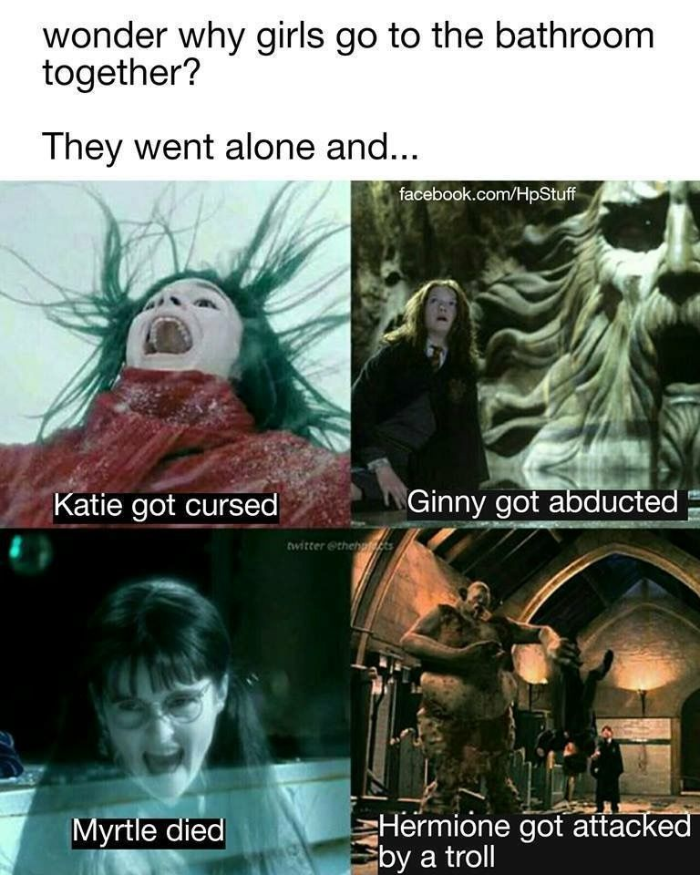 Why Girls Don T Go Alone To The Bathroom Harry Potter Feels Harry Potter Jokes Harry Potter Collection