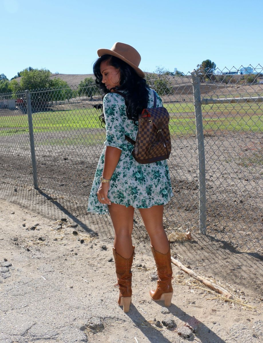 Cowgirl Boots Babydoll Dress In 2021 Cowgirl Boots Outfit Classy Casual Outfits Spring Work Outfits [ 1200 x 919 Pixel ]