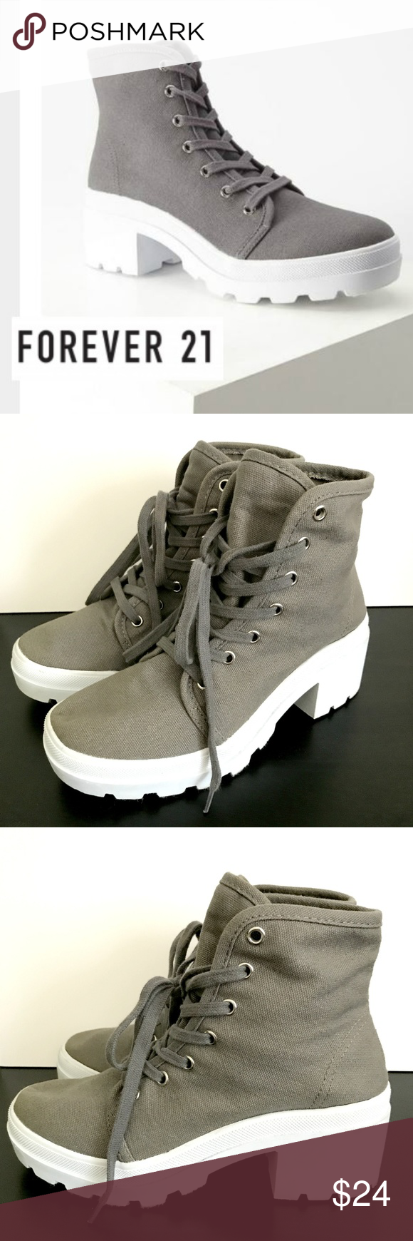 Canvas Lug Platform Boots Gray Size 7 Forever 21 Canvas Lug Platform Boots  Gray Size 7 7e12e0dba2