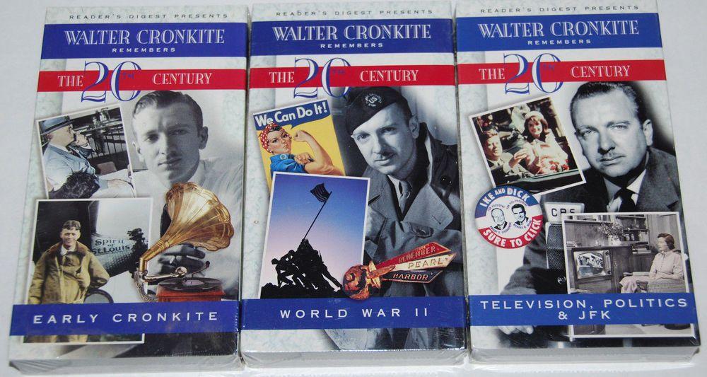 Walter Cronkite Remembers The 20th Century Vhs Lot Of 3 World War Ii Jfk