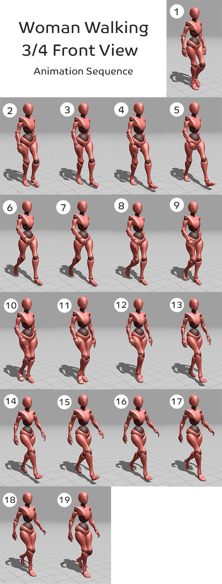 Woman Walking 3 4 Front View Animation Sequence Mixamo Character Drawing People Walking Animation Walking Poses