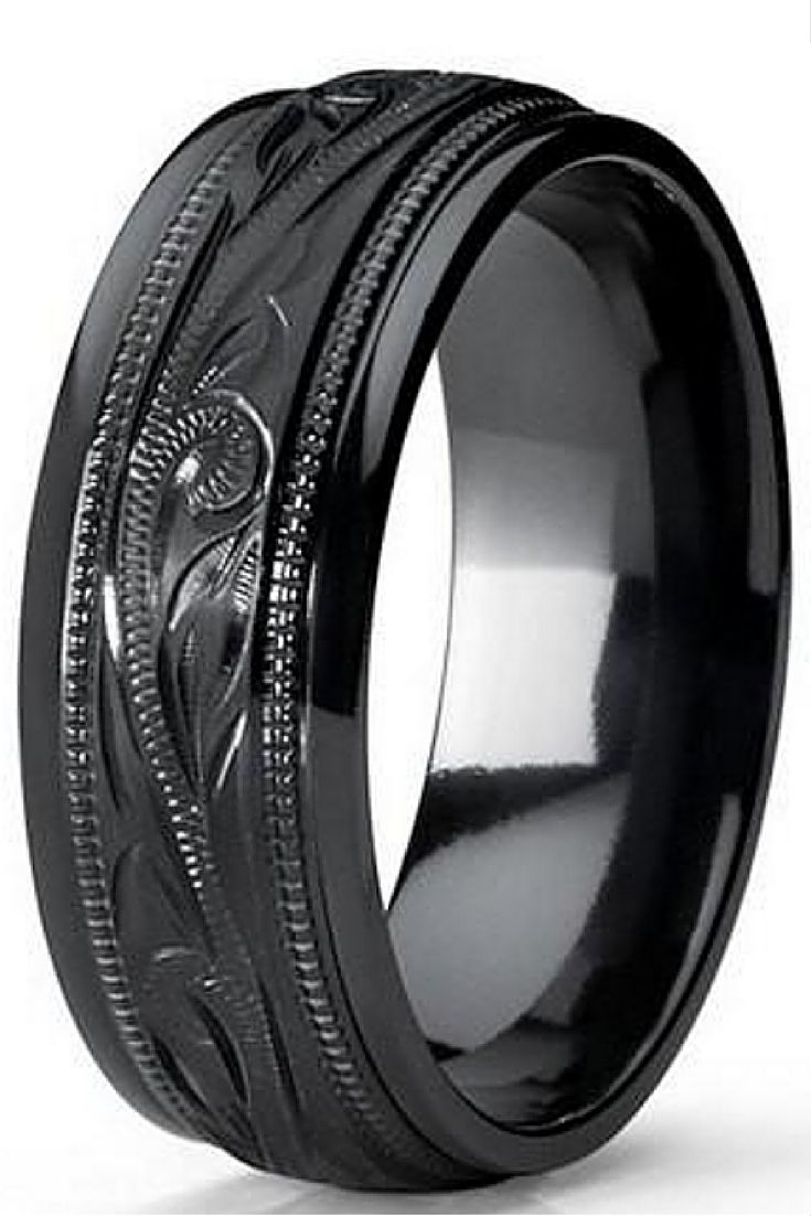 Beautiful Design On This Wedding Band Mens 8mm Black Titanium Ring With Floral Hand Engrave Mens Wedding Rings Titanium Black Titanium Ring Mens Wedding Rings