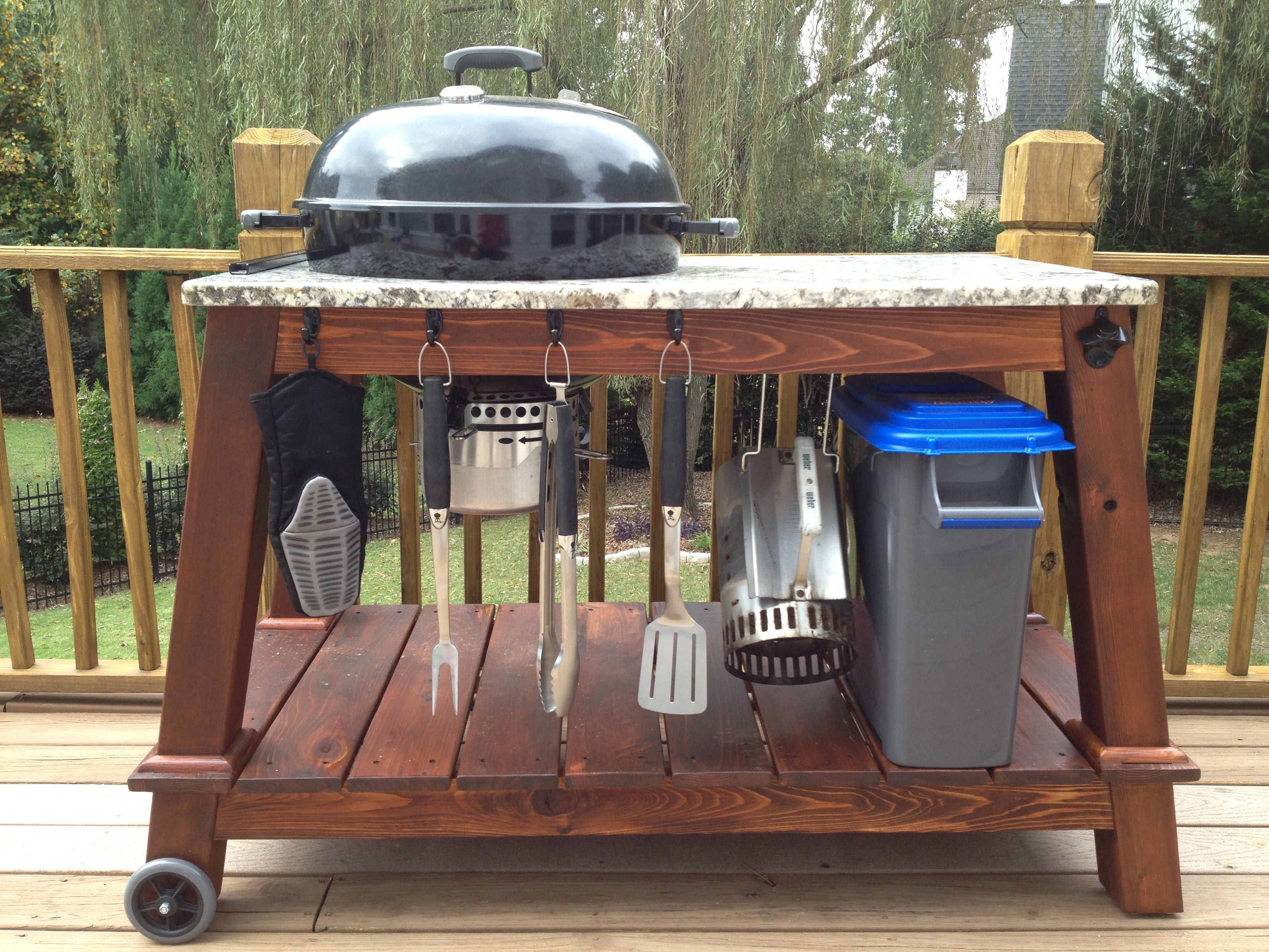Bbq Outdoor Küche Weber Kettle Grill Table Great Weekend Project Exterior