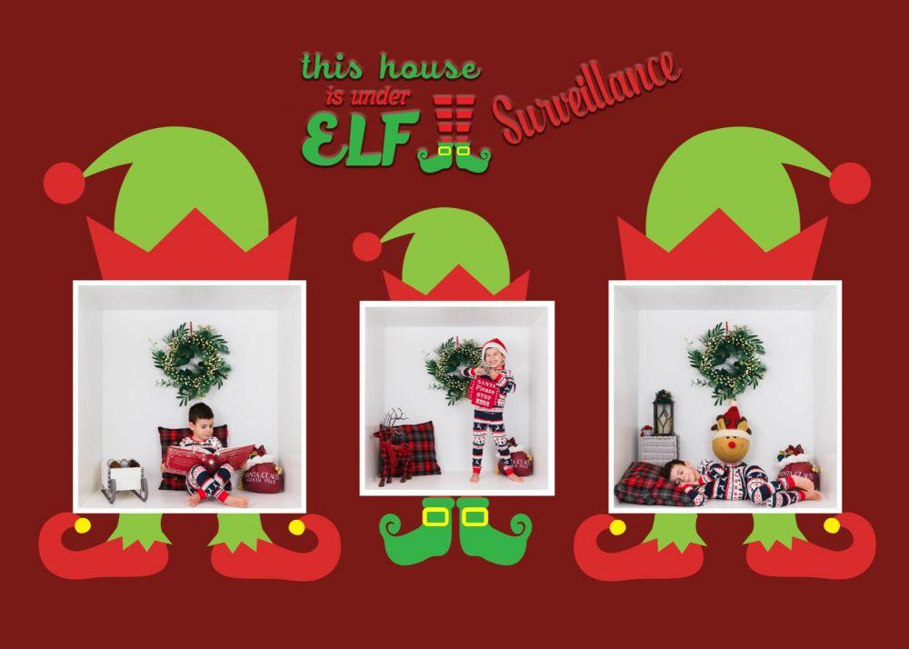 Elf Under Surveillance Christmas Card Digital Template Elf Christmas Card Christmas Cards Greeting Card Template
