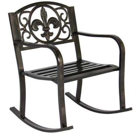 64 95 X2 Patio Metal Rocking Chair Porch Seat Deck Outdoor Backyard Glider Rocker 17