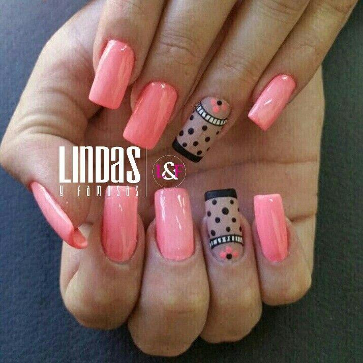 Nails Salmón Uñas De Color Rosa Uñas Neutras Uñas