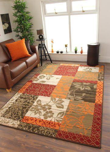 Milan Brown Red Orange Beige Cream Patchwork Area Rug 1568