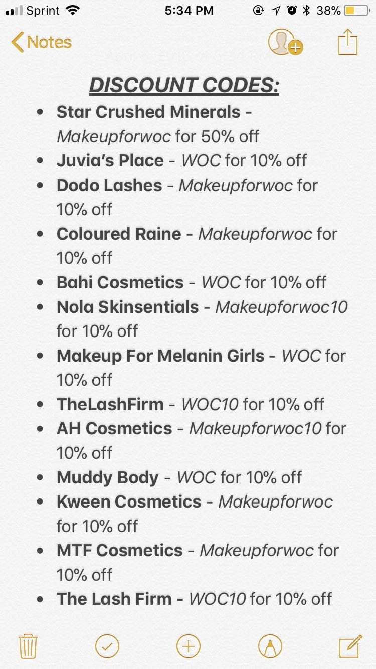 Discount Codes from Makeupforwoc blackmua DISCLAIMER
