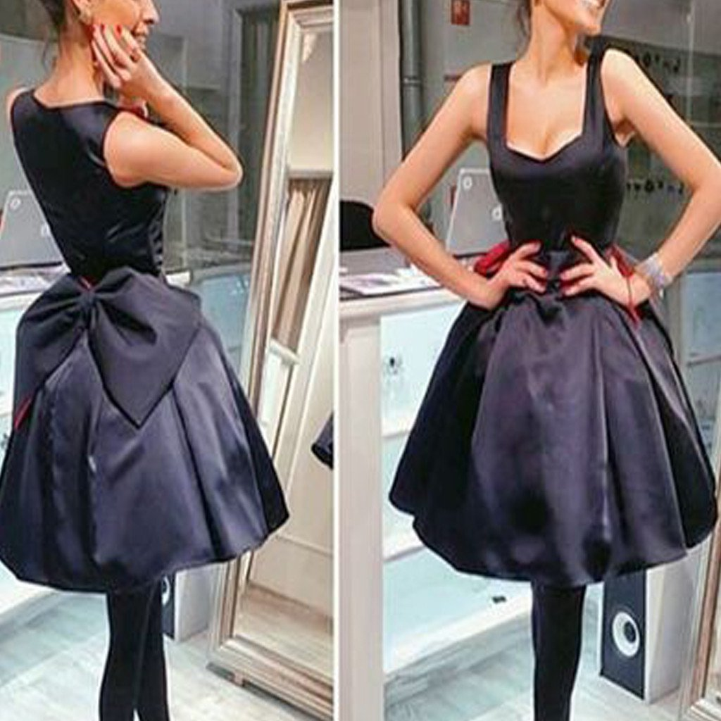 Black bowknot simple lovely disney homecoming prom gown dressbd