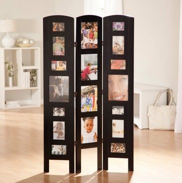 Triple Panel Picture Frame Floor Dividers Room Divider Black 3 Modern Screens And Wall