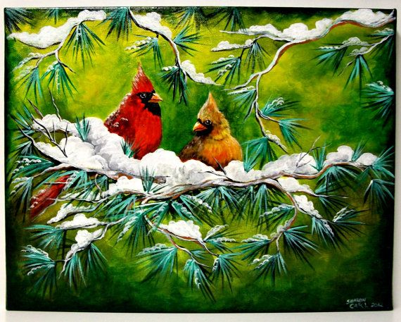 Cardinals in the Snow Original Canvas by SharonsCustomArtwork, $69.00