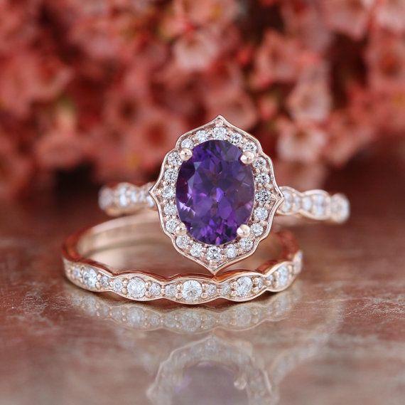 Bridal Ring Set Halo Ring Oval 8x6mm Amethyst Engagement Ring and Diamond Simulant Wedding Band Set Sterling Silver Ring Wedding Ring