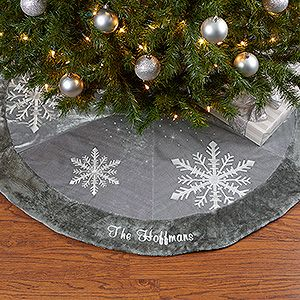 this personalized christmas tree skirt is stunning it can be embroidered with any family name and it matches our beautiful christmas stockings too