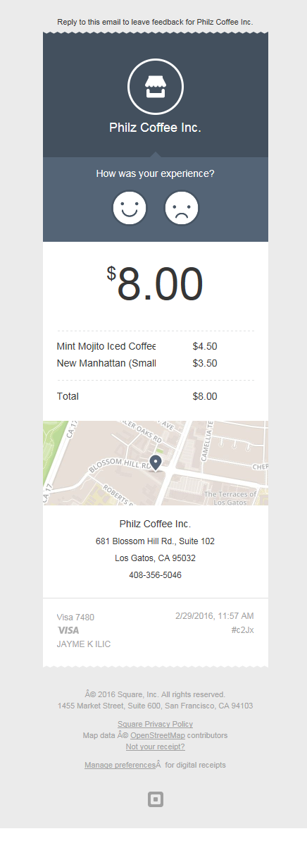Philz Coffee Square Receipt Design Pinterest Digital