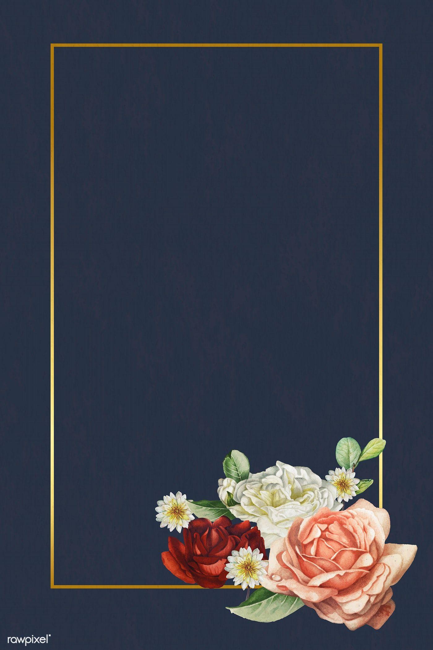 Download premium vector of Floral gold frame on blue