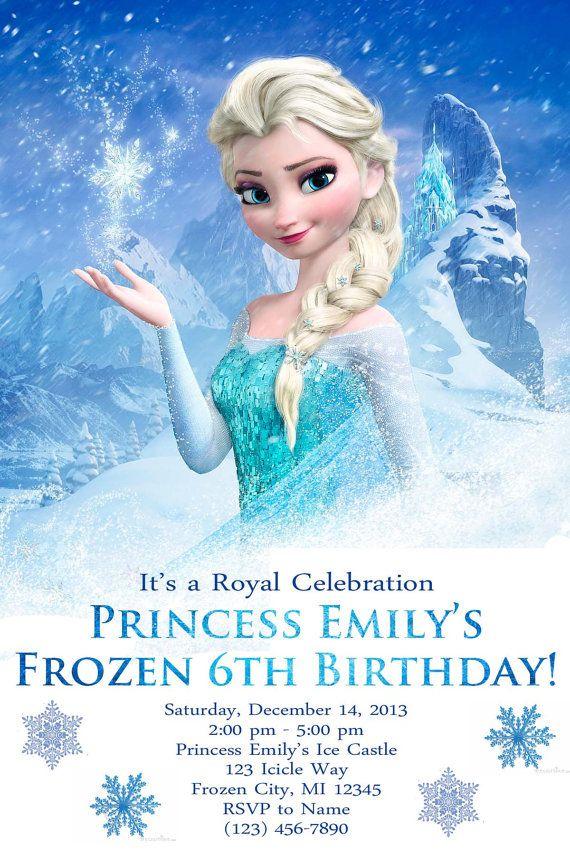 Frozen Birthday Party Invite Digital File Addis Frozen