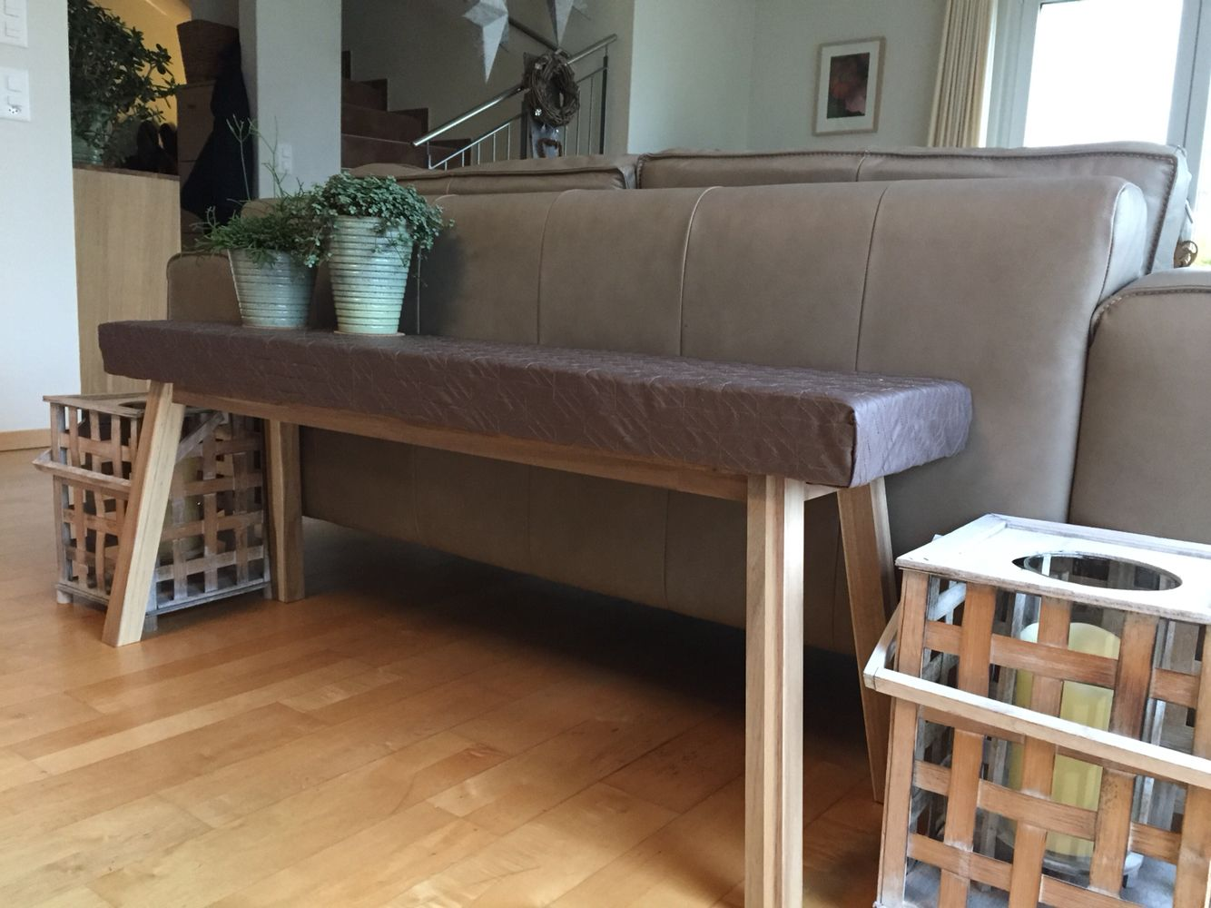 Ikea Hack Skogsta Bench Upholstered With Foam To Create A